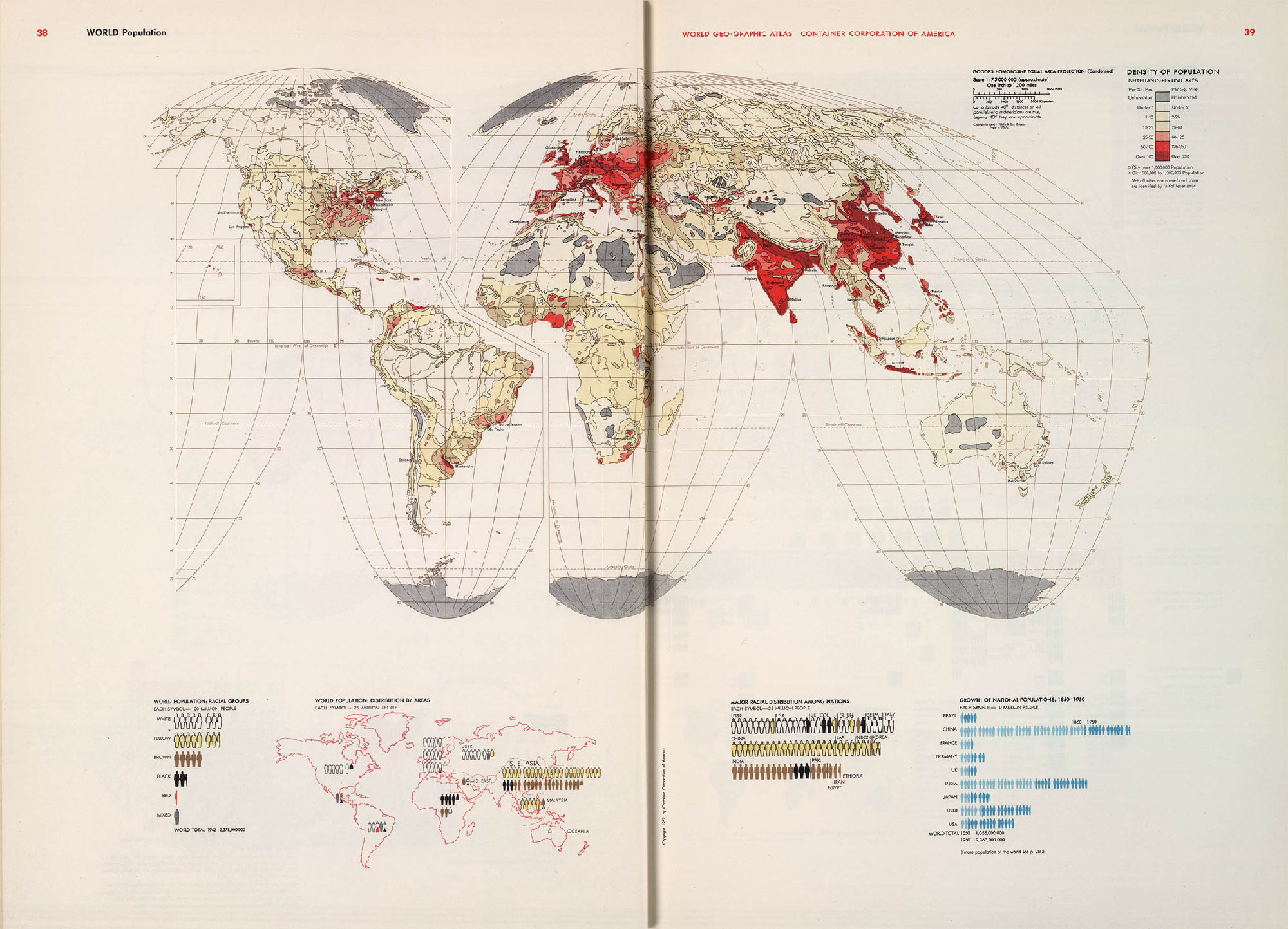 "World population map from Herbert Bayer's ""The World Geo-Graphical Atlas"""