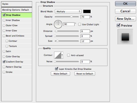 Photoshop Drop Shadow parameters