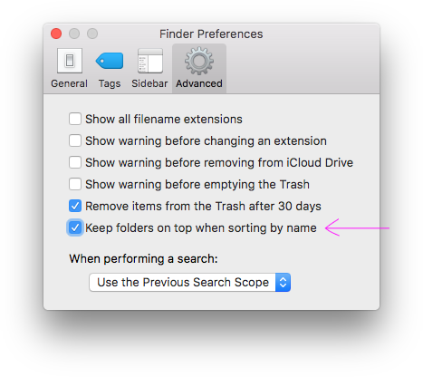 Folders first in Finder