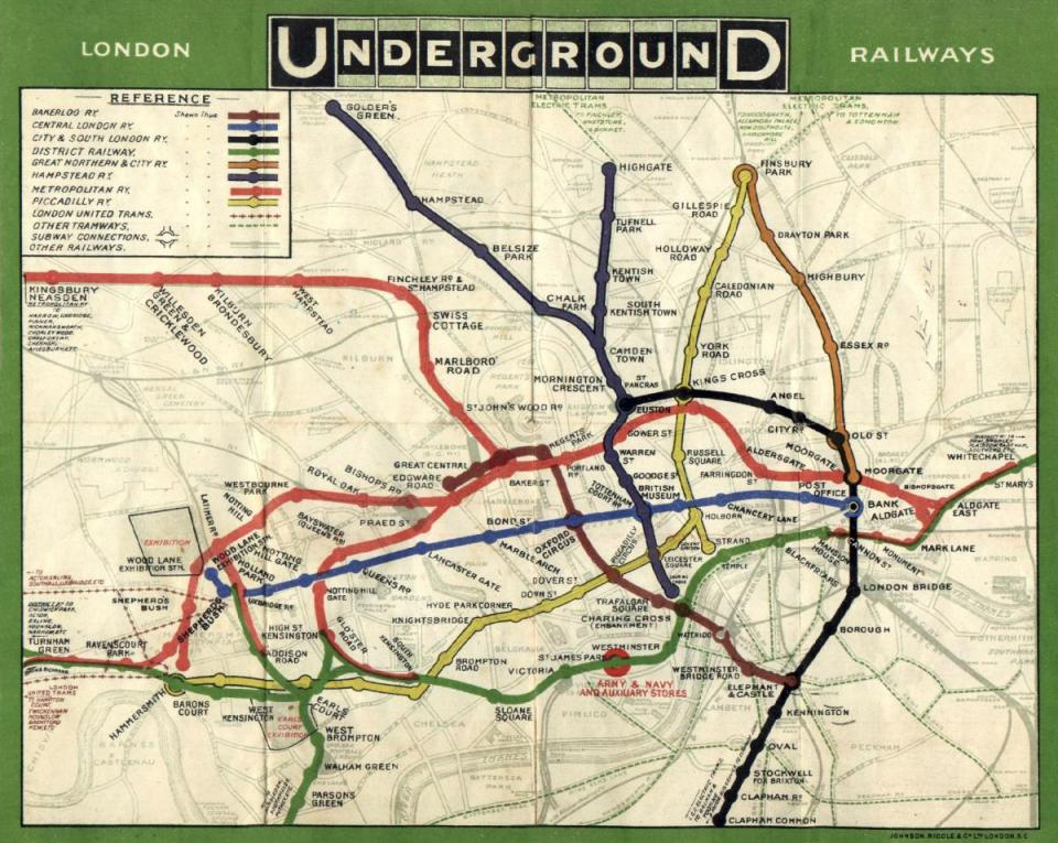 London underground railways, 1908