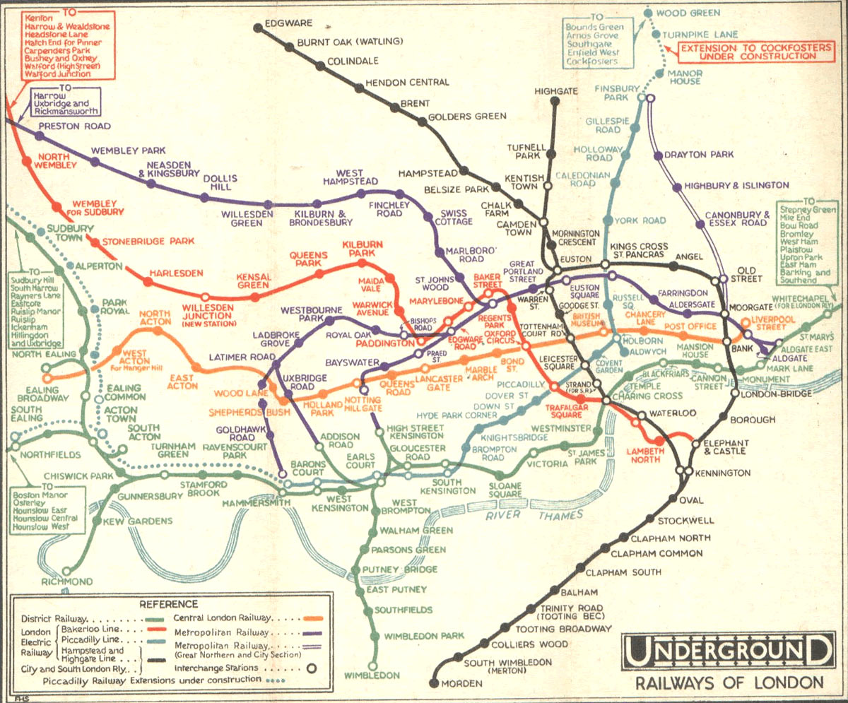 London underground railways, 1932