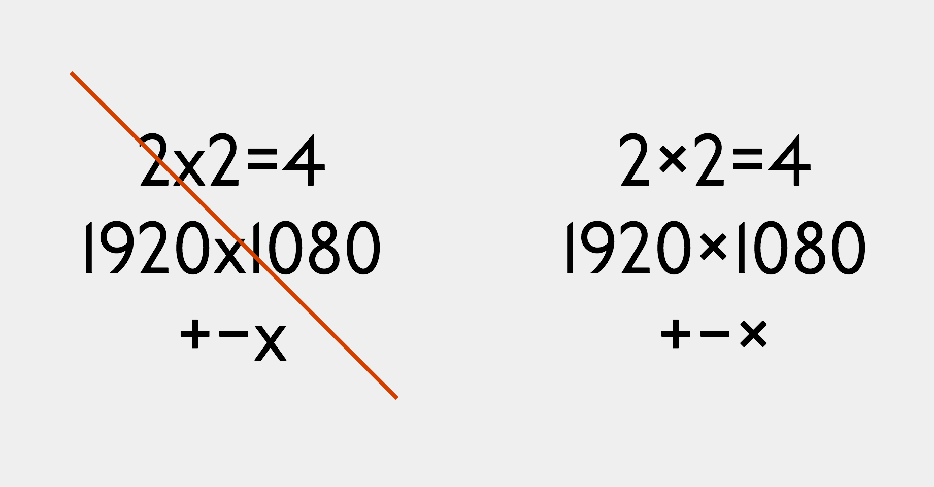 the letter x is not a multiplication sign