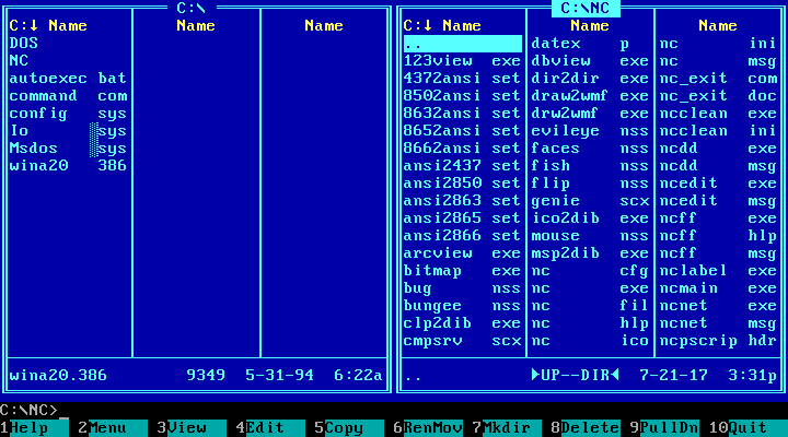 UI Museum: Norton Commander 5 0