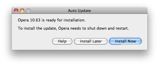 Opera says it has to update