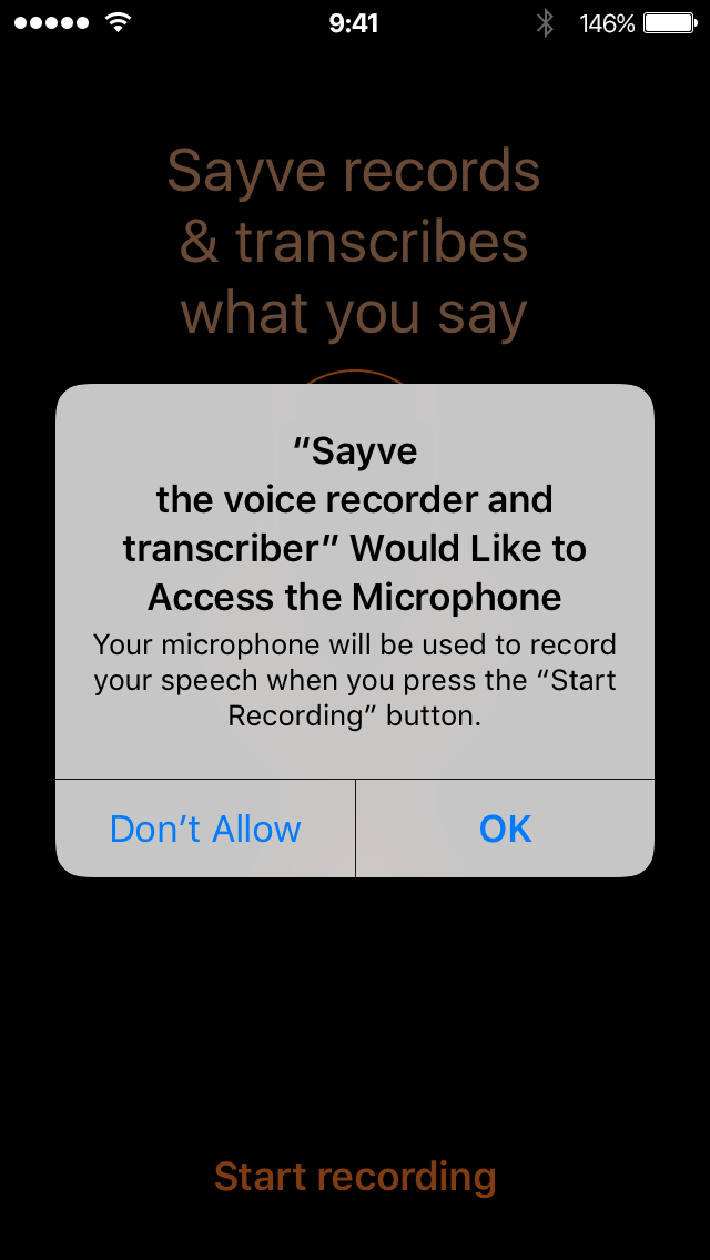 iOS asks for microphone permission for Sayve