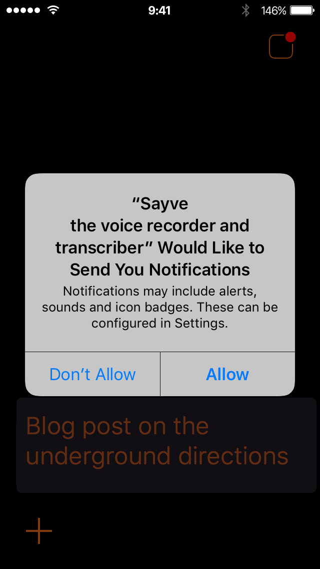 iOS asks for notifications permission for Sayve