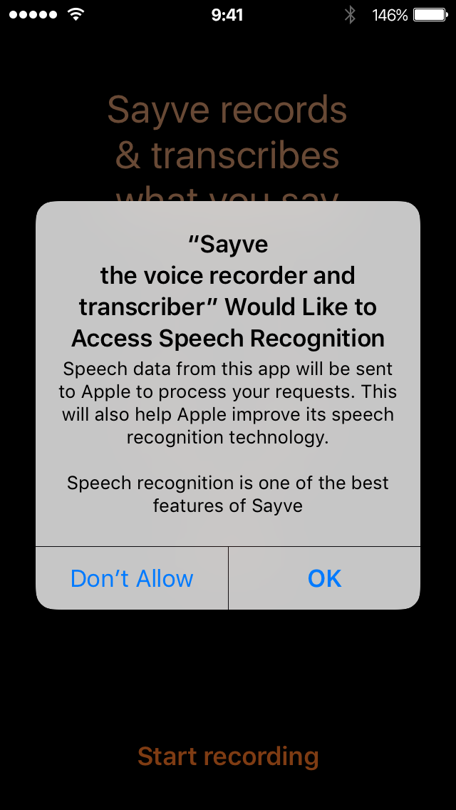 iOS asks for speech recognition permission for Sayve