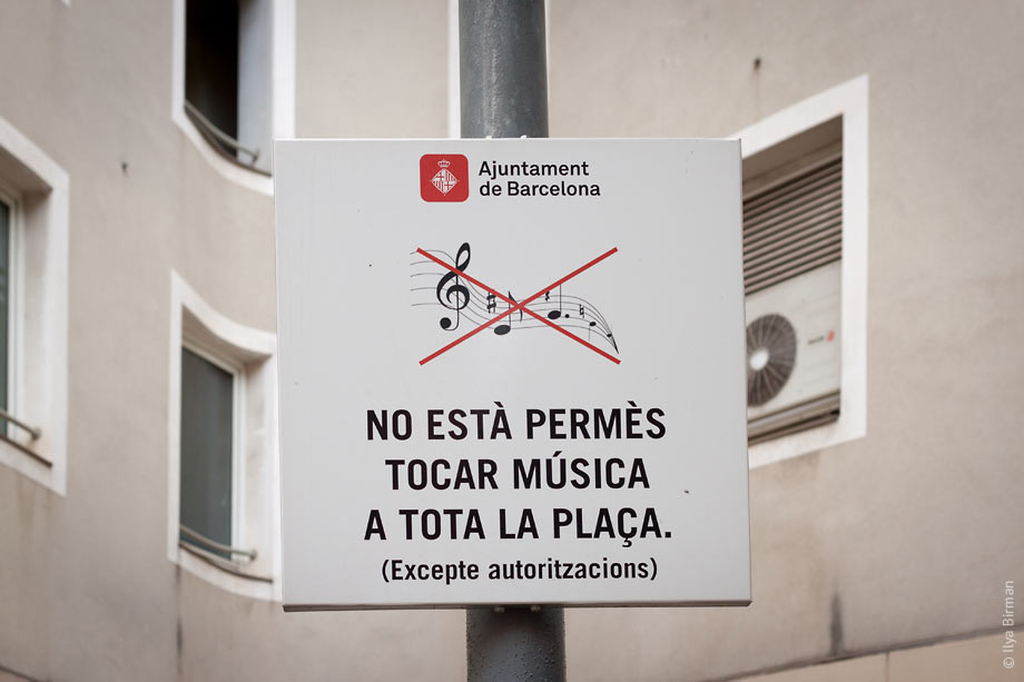 Street prohibition sign in Barcelona