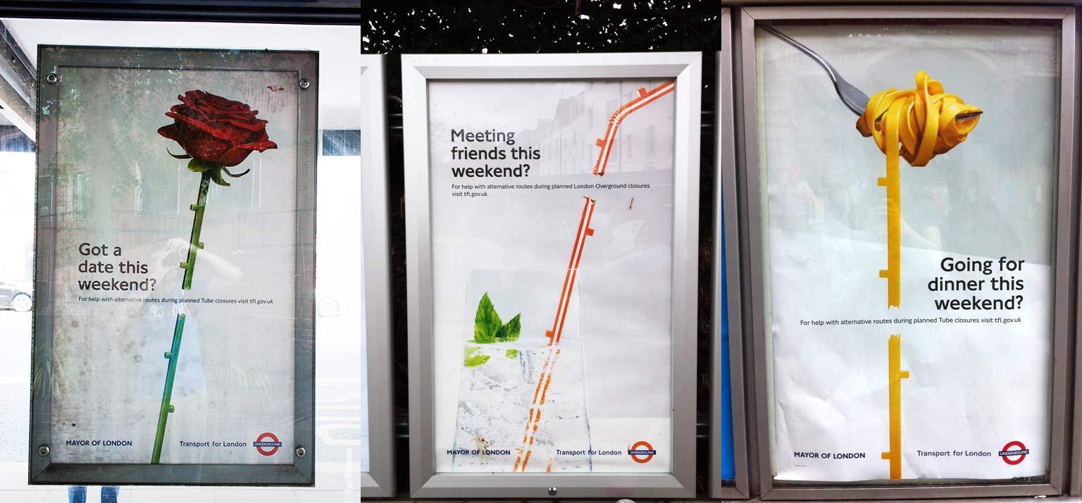 Transport map design. TfL posters