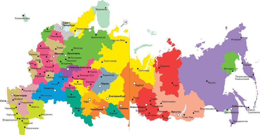 Map of UZP plant dealerships in Russia