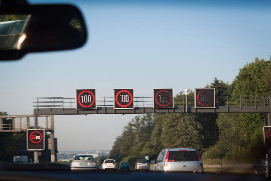 "The sign ""no overtaking by trucks"" on a German autobahn"