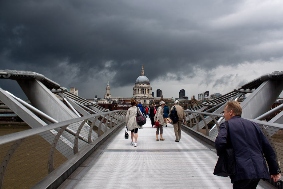 People on Millenium bridge seconds before the rain