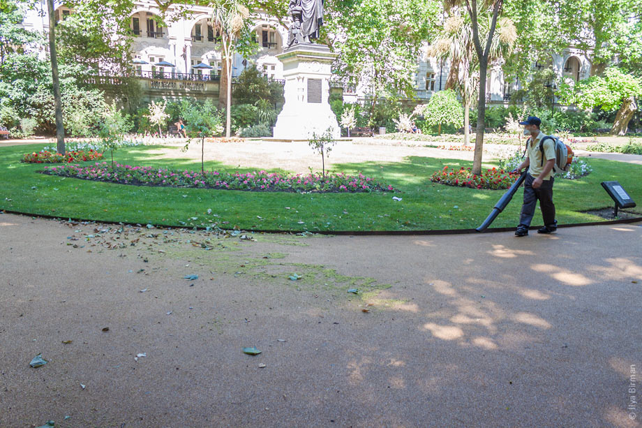 Victoria embankment Gardens are being swept