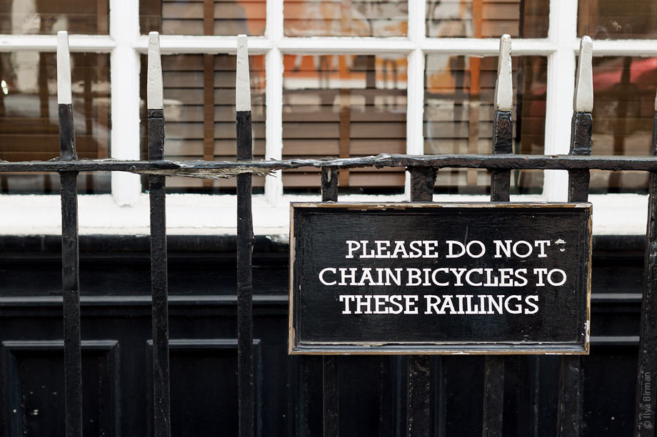 The plates asking you to not chain your bike to railings are diverse