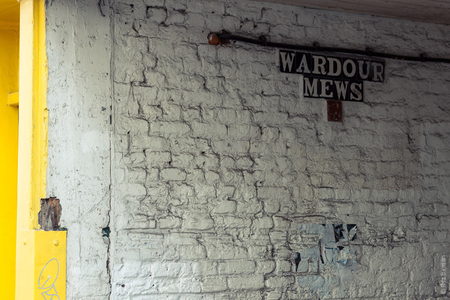 An old sign at the Wardour Mews