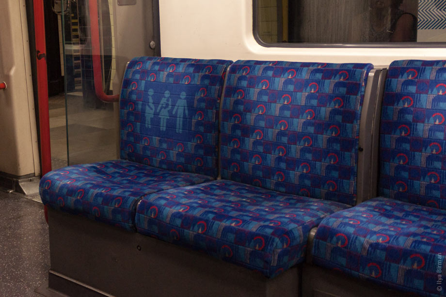 The priority seats have a custom upholstery