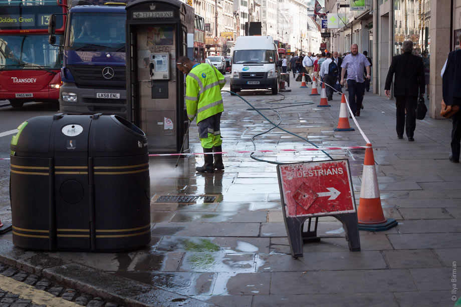 The pavement on the Strand is being washed