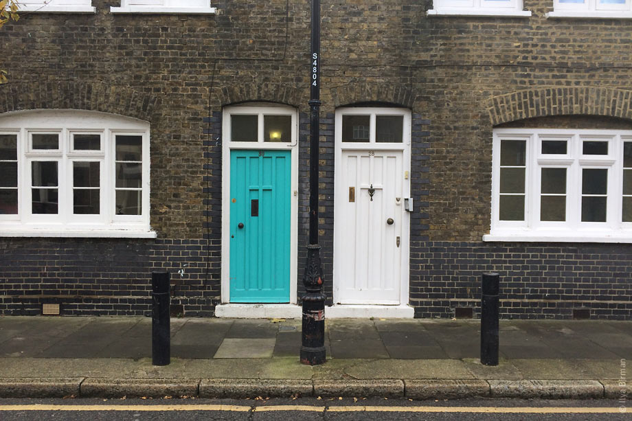 The turquoise and white doors