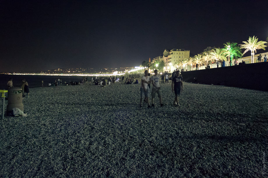 The beach in Nice is crowded at night