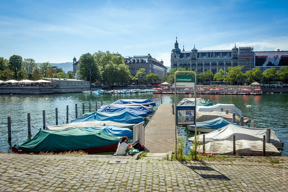 A river bus stop in Zurich